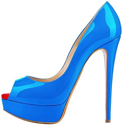 EDEFS Damenschuhe High Heels Plateau Pumps Peep Toe Stilettos Kleid-Partei Schuhe Skyblue