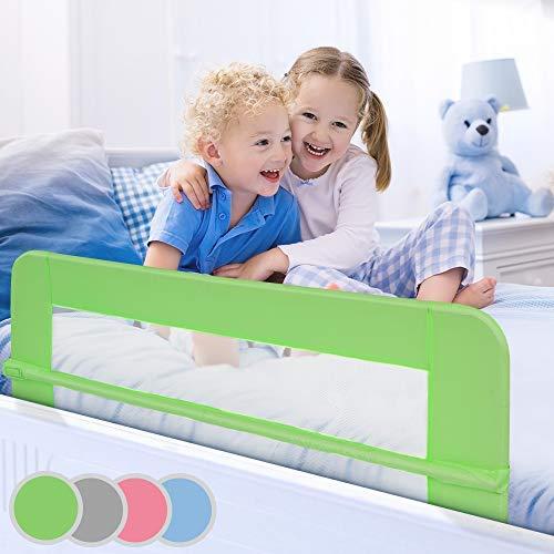Bettgitter klappbar | Farbwahl, Größe: 150/42cm, einfache Montage, passend für Kinderbetten, Elternbetten | Bettschutzgitter, Kinderbettgitter, Babybettgitter, Gitter, Rausfallschutz (Grün)