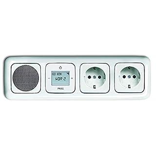 Busch Jäger Unterputz UP Digitalradio 8215 U (8215U) alpinweiß Komplett-Set Reflex SI Lautsprecher + Radioeinheit + Abdeckungen + 2 Steckdosen in 4 fach Rahmen integriert