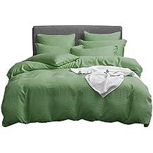 UMI. Essentials Klassisches Satin Gestreiftes Bettbezug-Set, Gebürstete Weiche Mikrofaser. (6 Größen, 12 Farben) (135 x 200 + 1x 80 x 80 cm, Grasgrün)