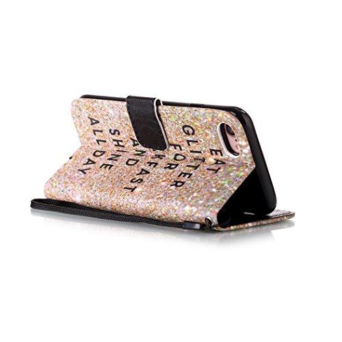 Ledowp Apple iPhone 8portafoglio in pelle, protezione integrale modello colorato design custodia in pelle custodia a portafoglio in pelle con slot per schede per iPhone 8 rosa Flower #6 Gold Sand