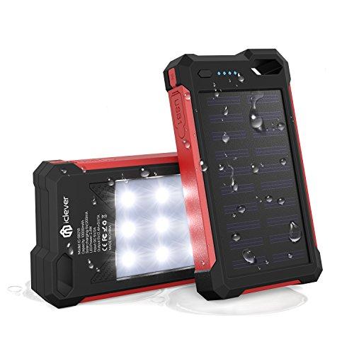 [Solar Akku Ladegerät] iClever 10000mAh Tragbares Solar Power Bank Akku Dual USB Port Ladegerät mit LED-Licht, wasserdicht IP67Solar Ladegerät für iPhone, iPad, iPod, Samsung, Android Phones