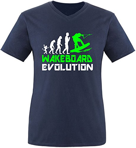 EZYshirt® Wakeboard Evolution Herren V-Neck T-Shirt Navy/Weiss/Neongr