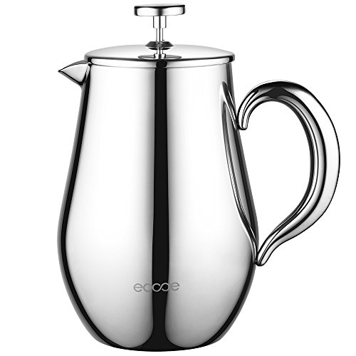 Ecooe 100% Edelstahl Kaffeebereiter 1L Doppelwandiger French Press Kaffeekanne