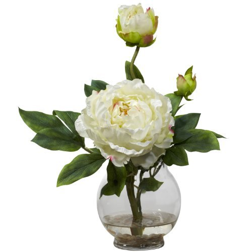 Fluted Vase (Nearly Natural 1278-WH Peony with Fluted Vase Silk Flower Arrangement, White by Nearly Natural)