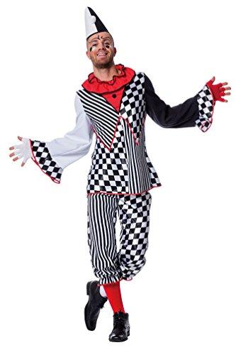 Karneval-Klamotten Harlekin Clown Pierrot Männer Herren-Kostüm schwarz-weiß kariert gestreift Hofnarr-Kostüm Oberteil Hose Zirkus Größe 60