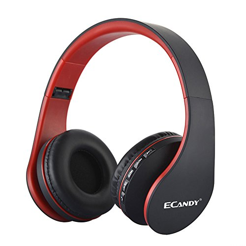 Ecandy Bluetooth Wireless Over-ear Stereo Headphones Wireless/Wired Headsets with Microphone for Music Streaming For iPhone 6s 6 5s 4s, iPad, iPod, Samsung Galaxy, Smart Phones Bluetooth Devices,Red