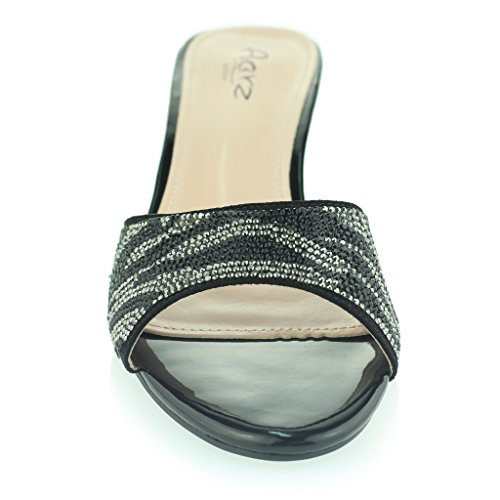 Femmes Dames Sparkly Diamante Soir Fête Bal de promo Glisser sur Block Heel Des sandales Chaussures Taille Noir