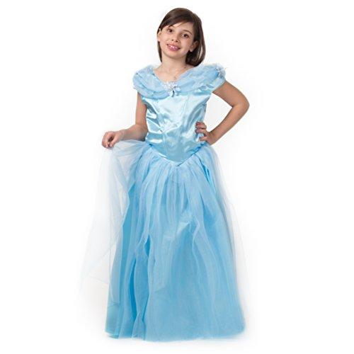 Premium Prinzessin-Kleid für Mädchen – Cinderella-Kostüm – Karnevals-Kostüm für 3-12 Jahre – top Qualität – Die schönste Prinzessin an Karneval, Fasching, Fastnacht (Größe:104)