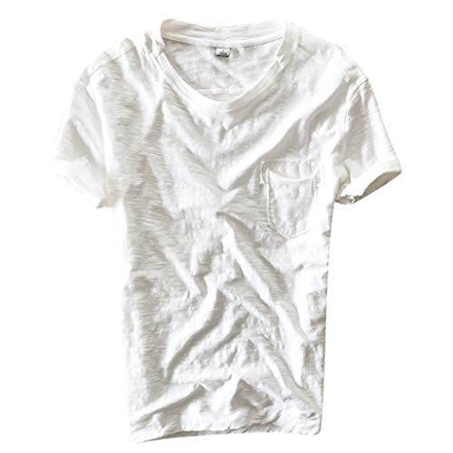 T-Shirt Herren, Dasongff Turn-Up Rundhals Kurzarm Tshirts Stilvoll Solide Sommertop Basic Casual Tee mit Tasche Freizeitshirt Vintage Baggy Tops Kurzarmshirt -