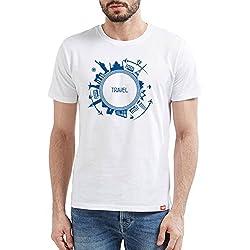 WYO Wear Your Opinion Men's Cotton Half Sleeve T-Shirt (White, L)