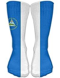 Flag Of Nicaragua Unisex Soccer Socks Knee High Long Stockings Sports Outdoor For Men Women