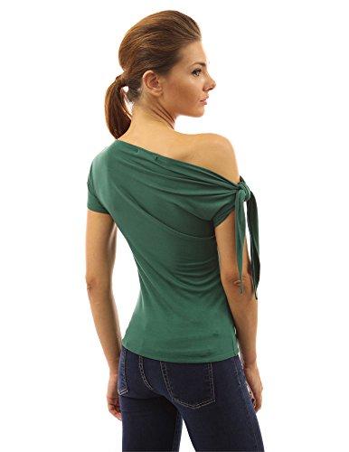 PattyBoutik Damen one shoulder stretch Bluse mit kurzen Ärmeln mittelgrün