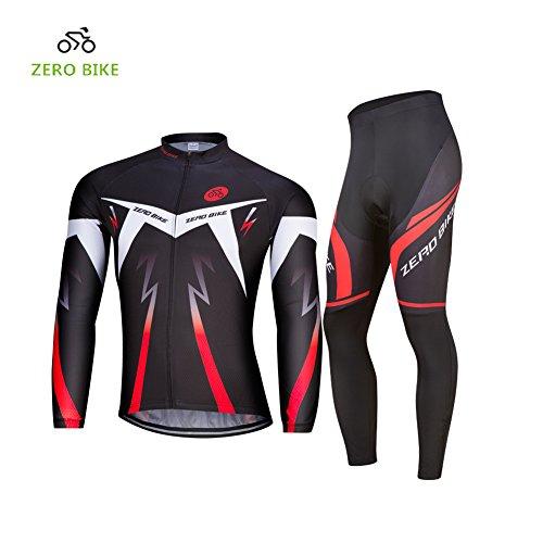 ZEROBIKE ELEAR® Herren Langarm Farradkleidung Fahrrad Anzug Radtrikot mit Hose Lange Ärmeln Anzug Radbekleidung (XL)