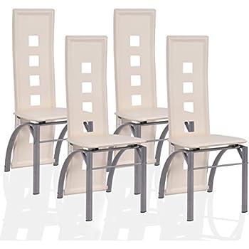 4er Set Esszimmerstühle Hochlehner Essgruppe Sitzgruppe Küchenstuhl Stühle  (weiß)
