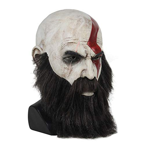 Kratos Cosplay Kostüm - WSMJ Kriegsgott Maske Kratos Halloween Fasching Karneval Party Erwachsener Cosplay Maske Latex Maske Perücke Bart RequisitenOne Size