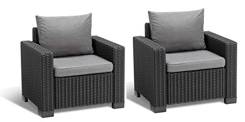Allibert Lounge Sessel California 2er Set mit Kissen, graphit/panama cool grey
