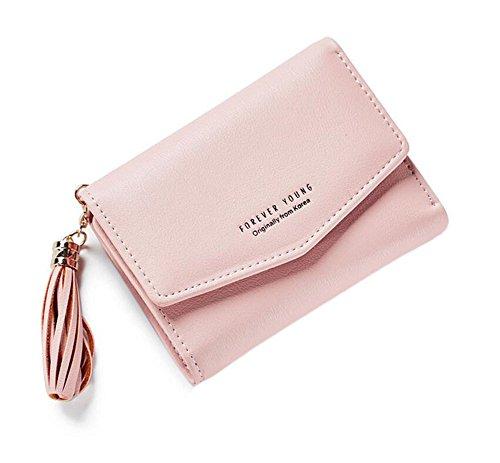 Brieftasche Frauen Kleine Brieftasche (Ylen Troddel Reißverschluss Damen Kurz Geldbörse PU Leder Geldbeutel Frauen Klein Portemonnaie)