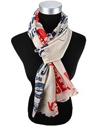 426b8ea043b4b9 Damen Schal in rot blau grau creme mit Motiv Gr. 180 cm x 105 cm