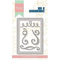 Marianne Design Artist Trading Card tasca, in metallo, motivo: lettere, colore: grigio
