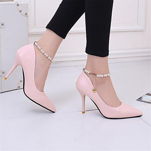 TMKOO 2017 nouvelle bouche peu profonde a des chaussures à talons hauts simples chaussures fines sexy boîte de nuit avec des lanières de perles super talons haut enfant Rose