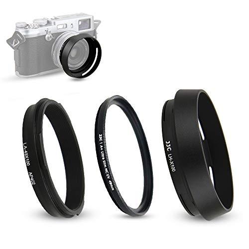 Pare-Soleil et Bague d'adaptation pour Fujifilm Fuji X100F, X100T, X100S, X100, X70 remplace Fujifilm LH-X100 (avec Filtre UV)