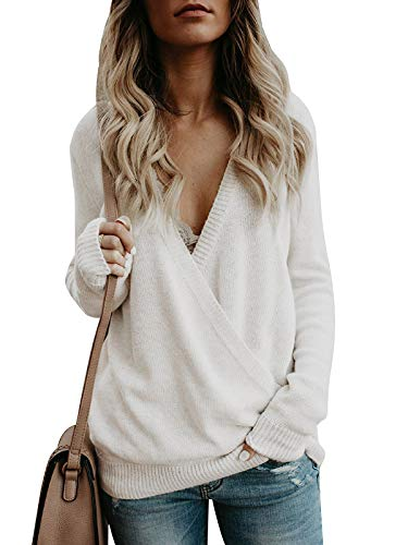 Damen Sweater Pulli Langarm Casual Sexy V-Ausschnitt Pullover Sweatshirt Oversize Loose Lange Ärmel Stricken Oberteil Tops Rückenfrei Fledermaus Batwing Rücken Kreuz