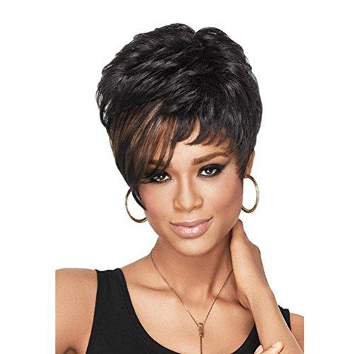 Meylee Perücken Flauschige natürlichen kurzen lockigen Perücke für schwarze Frauen braun Highlights Frauen voll ()