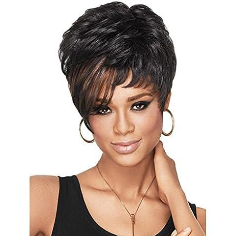 Meydlee Pelucas Peluca llena de esponjosa peluca rizada corta Natural para las mujeres negro marrón destaca las