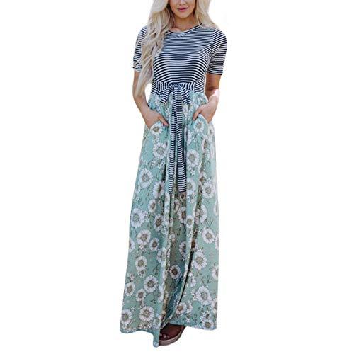 Dünne Streifen Floral A-Linie Maxi Tie Pocket Kurzarm O-Ausschnitt Party Swing (Prom Kleider Stock Länge)