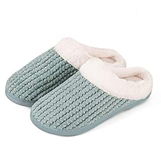 Mabove Hausschuhe Damen Winter Wärme Bequem Plüsch Pantoffeln Indoor Home Rutschfeste Kuschelig Weite Leicht Slippers (Grün,36/37 EU)