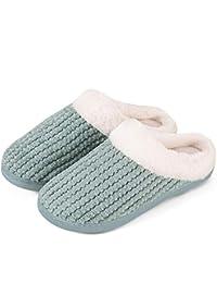 73dfdfdbd3dc Mabove Hausschuhe Damen Winter Wärme Bequem Plüsch Pantoffeln Indoor Home  Rutschfeste Kuschelig Weite Leicht Slippers