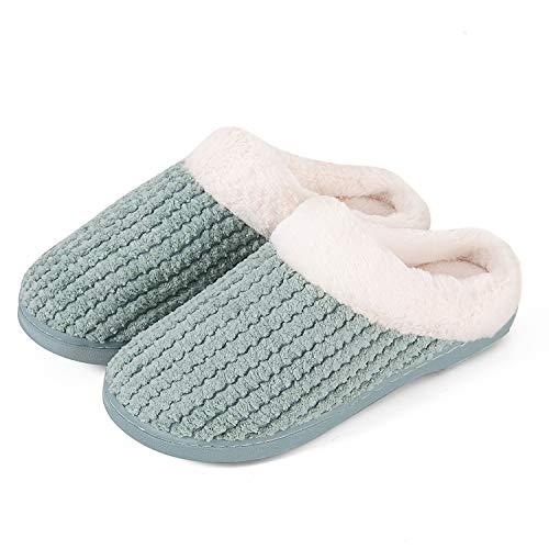 Mabove Hausschuhe Damen Winter Wärme Bequem Plüsch Pantoffeln Indoor Home Rutschfeste Kuschelig Weite Leicht Slippers (Grün,40/41 EU)