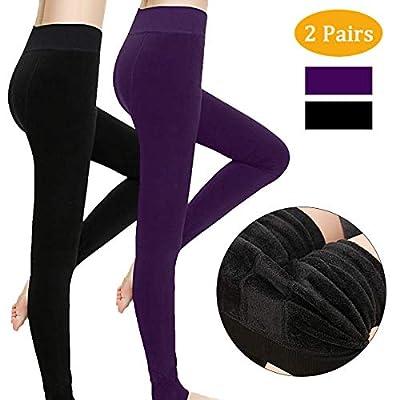 2 Pack Women Leggings, Winter Warm Velvet Elastic Leggings Pants, Thick Fleece Lined Thermal Stretchy Tights for Girl Women, Black, One Size