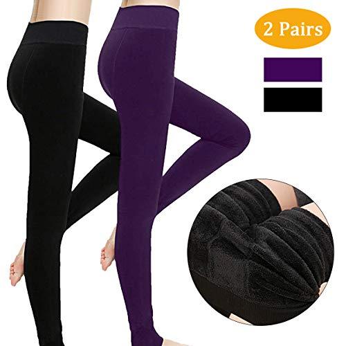 Philonext Pack de 2 leggings para mujer, cálido invierno terciopelo elástico Leggings pantalones, grueso forro polar forrado térmico elástico mallas para niña mujer