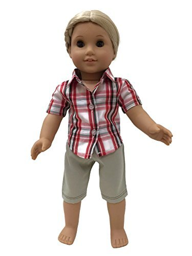 glamerup Exclusive: Emerson–Red Plaid Button-Down Shirt and Khaki Shorts Unisex Outfit Set–UV for Most 18Inch Dolls