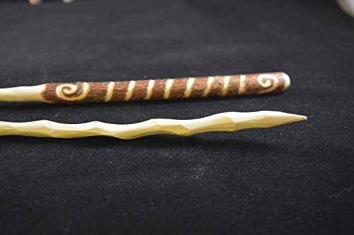 Image of Wooden Wand made from found wood with hand shaping and carving wicca, pagan, ceremonies and altars