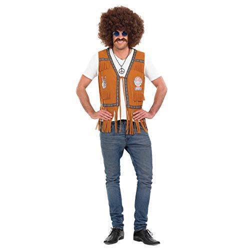 Veste à franges marron hippie homme - XL