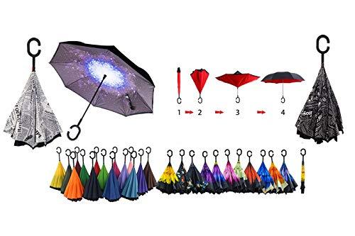 Ombrello inverso reversibile fantasia auto apertura al contrario pioggia