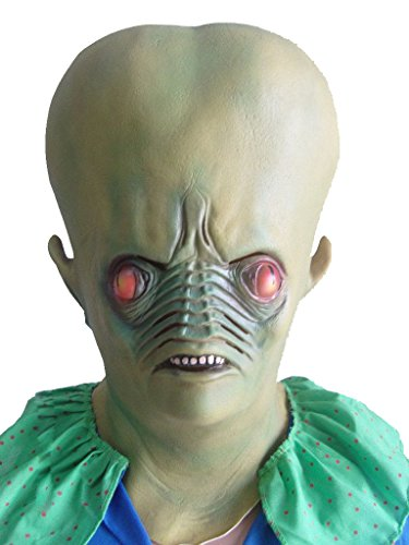 thematys Grünes Alien Außerirdischer Maske - Perfekt für Fasching, Karneval & Halloween - Kostüm für Erwachsene - Latex, Unisex ()