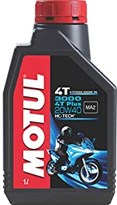 Motul 3000 4T Plus 20W40 API SM HC Tech Engine Oil for Bikes (1 L)
