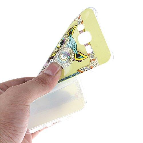 Samsung Galaxy J5 hülle MCHSHOP Ultra Slim Skin Gel TPU hülle weiche weiche Silicone Silikon Schutzhülle Case für Samsung Galaxy J5 - 1 Kostenlose Stylus (Löwenzahn sich verlieben (Dandelions Fall in  bunte ständigen eule mit grünen blättern (Colorful sta