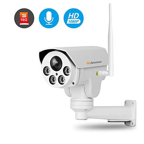Jennov PTZ IP Kamera 1080P HD WLAN Überwachungskamera 260° schwenkbar 60° neigbar mit 4X Fach optischem Zoom 16GB Micro SD-Karte IR Nachtsicht IP66 wasserdicht Wireless für Haus Innen Outdoor Außen (Hd-webcam Outdoor)