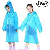 Kurtzy Kids Waterproof Portable Raincoat Jacket with Hoods for Biking Rain Gear Camping Hiking Picnic and Travel