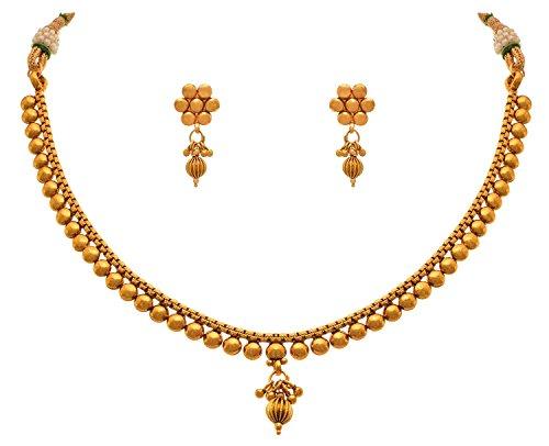 JFL-Traditional Ethnic One Gram Gold Plated Bead Designer Necklace Set For Women & Girls