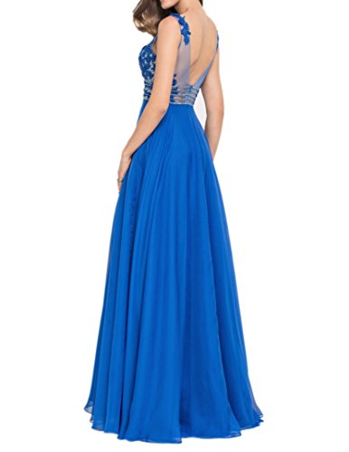 Charmant Damen Royal Blau Spitze Kurzarm Abendkleider Ballkleider Festlichkleider Partykleider Lang Rot