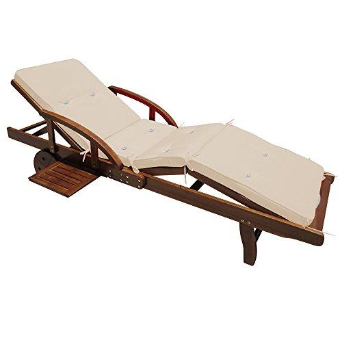 Coussin Detex pour transat chaise longue de jardin Crème 195 cm Rembourré Relax