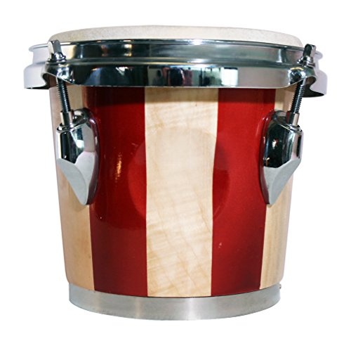 """Rockjam 7"""" and 8"""" Bongo Set with Padded Bag - Red and Natural Stripe"""