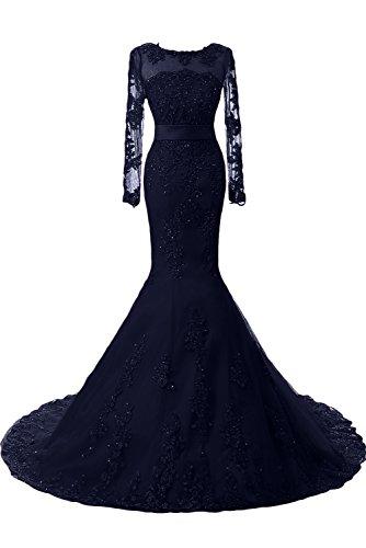 Toscana sposa moda sposa abiti da sera della sirena superiore di qualità lungo con Lace Festival del partito della sfera di promenade dresses Dunkel Navy-1