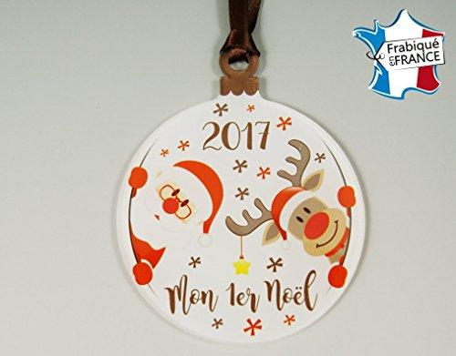 Décoration de Sapin - Mon Premier Noël (Boule 1er noël) – Sujet en Plexiglass Mod. Père Noël
